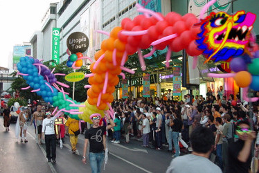 Utopia's rainbow dragon float in the Bangkok Gay Festival parade