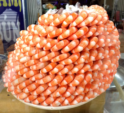 Saigon tower of shrimp (c) 2012 photo by John Goss